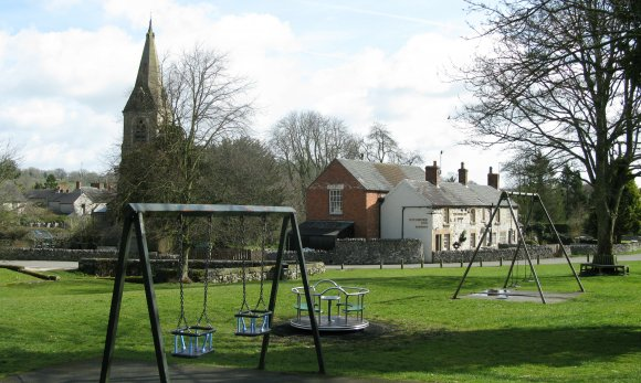 Children's Play Area looking towards the Church and Pub